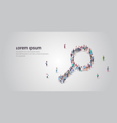 people crowd gathering in magnifying zoom shape vector image