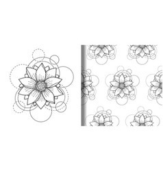 Print and seamless pattern set with lotus vector