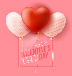 Promo web banner for valentines day sale vector