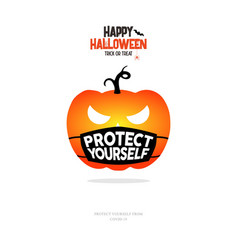 pumpkin with protect yourself mask concept vector image