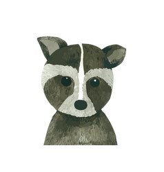 Raccoon cartoon watercolor animal hand drawn vector