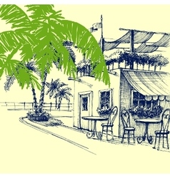 Restaurant on the beach Terrace and palm trees vector image vector image