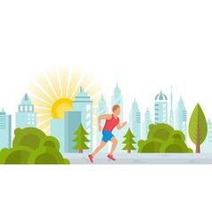 Runner Man in City Park vector