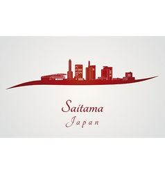 Saitama skyline in red vector image