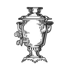 Samovar engraving style vector