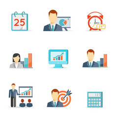 set colorful business icons vector image