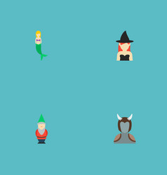 set of cartoon icons flat style symbols with witch vector image
