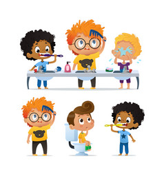 Set of of cute kindergarten vector