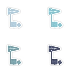 Set of paper stickers on white background North vector
