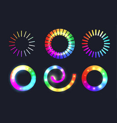 set of rainbow loading sliders with sparkles vector image