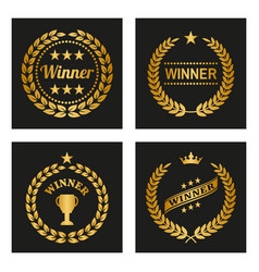 set of winner golden laurel wreaths vector image