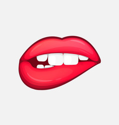 sexy female lips isolated character in cartoon vector image