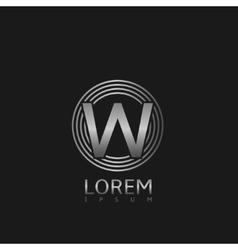 Silver W letter logo vector