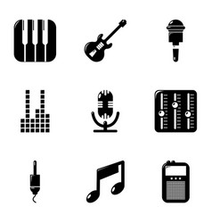 sound processing icons set simple style vector image vector image