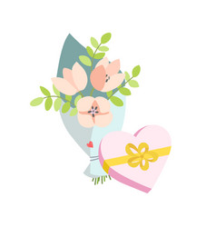 Spring bouquet of flowers and a gift in the form vector