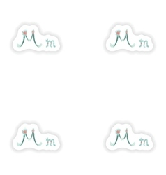 Stiker Abstract letter M logo icon in Blue vector