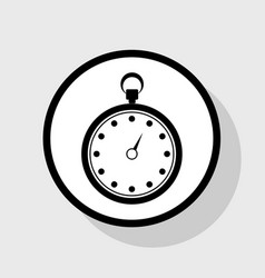 stopwatch sign flat black vector image vector image