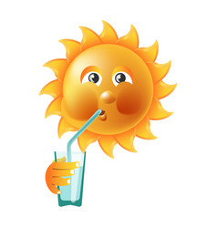 sun smile or summer cartoon emoticon and emoji vector image