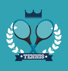 tennis racket crown wreath laurel winner sport vector image