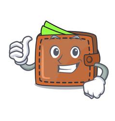 Thumbs up wallet character cartoon style vector