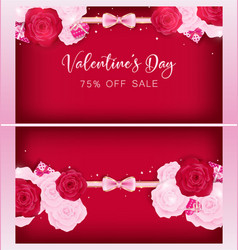 Top view valentine floral invitation card vector