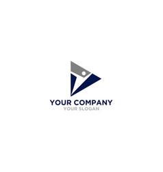 triangle training people logo design vector image