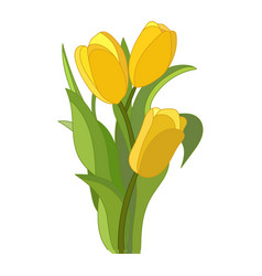 Tulips icon on a white background yellow vector
