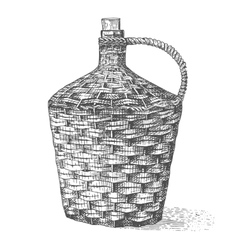Wine old traditional braided bottle hand drawn vector image