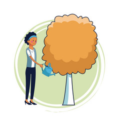 woman with tree vector image