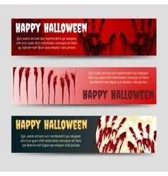 Bloody handprints halloween horizontal banners set vector image vector image