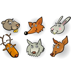 Cartoon forest animals heads set vector image vector image