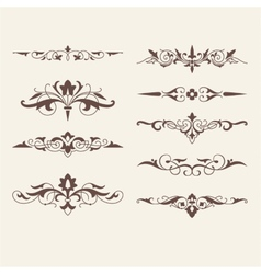 Curled calligraphic design elements for logo vector