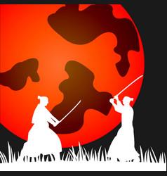 japanese samurai warriors silhouette with katana vector image