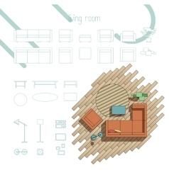 Living room furniture vector image