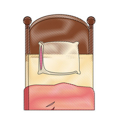Single bed wooden pillow bedding draw vector