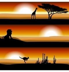 Animals on the savannah at sunset vector image