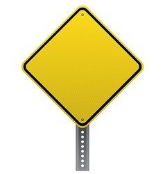 Blank yellow road sign detailed vector image vector image