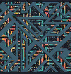 grunge geometric seamless pattern vector image vector image