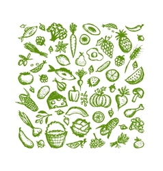 Healthy food background sketch for your design vector image