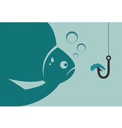 Large fish looking at a worm vector image