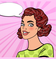 pop art girl smiling with comic speech bubble vector image