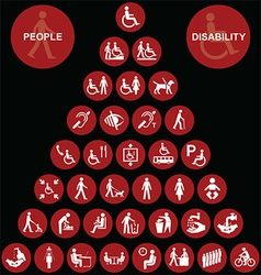 Pyramid disability and people Icon collection vector image