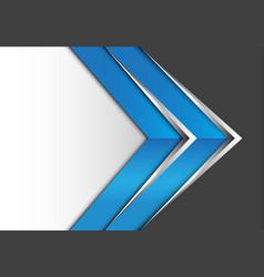 abstract blue silver arrow on gray white design vector image vector image