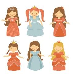 Beautiful princesses set vector image vector image