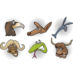 Cartoon wild animals heads set vector image vector image
