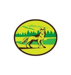 Coyote mountain landscape oval retro vector