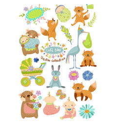 Cute baby cartoon collection with animals vector