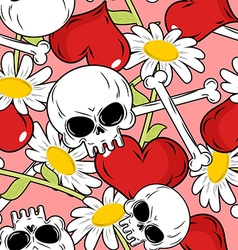 Love and death seamless pattern Red heart and vector image vector image