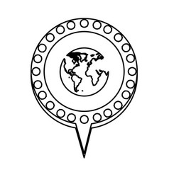 monochrome silhouette of world map and circular vector image