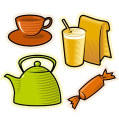 objects drinks and sweets vector image